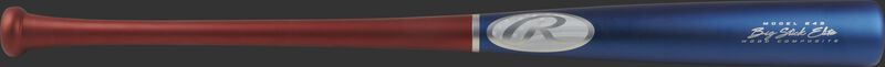 A 2021 Big Stick Elite 243 composite wood bat with a matte royal barrel, scarlet handle and silver logos - SKU: 243CUS