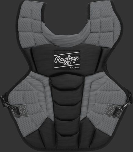 A black CPV2N Rawlings Velo 2.0 intermediate chest protector with a striped pattern