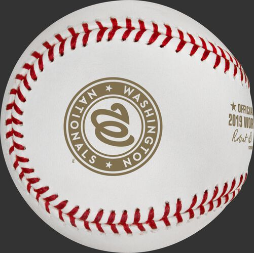 The Washington Nationals logo on the WSBB19CHMP Washington Nationals World Series Champions ball