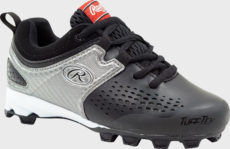Rawlings Black, Silver, and White Youth Clubhouse Low Baseball Cleats SKU #5561YBKSIL