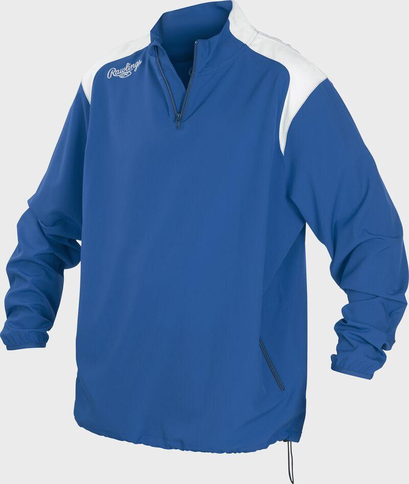 Front of Rawlings Royal Adult Long Sleeve Quarter-Zip Jacket - SKU #FORCEJ-B-88