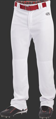 Front of Rawlings White Youth Semi-Relaxed Pant - SKU #YLNCHSR-B