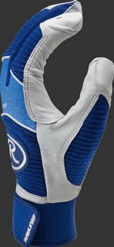 Thumb of a royal/white WH950BGY-R Rawlings Workhorse batting glove
