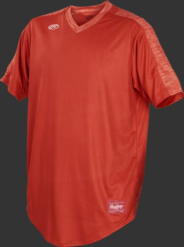 Front of Rawlings Bright Orange Youth Short Sleeve Launch Jersey  - SKU #YLNCHJ-DG-89