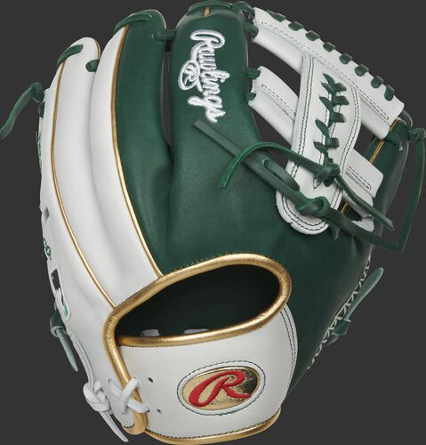 White/green back of a 2021 PRO-LUCKYV Heart of the Hide glove with a gold Oval-R on the wrist strap - SKU: RSGPRO-LUCKYV