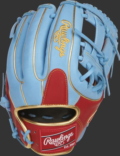 Back of a columbia blue/scarlet Kolten Wong Heart of the Hide infield glove with a red Rawlings patch - SKU: RSGPRO314-7SCB