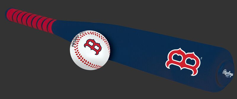 Side of Rawlings Boston Red Sox Foam Bat and Ball Set in Team Colors With Logo On Front SKU #01860024111