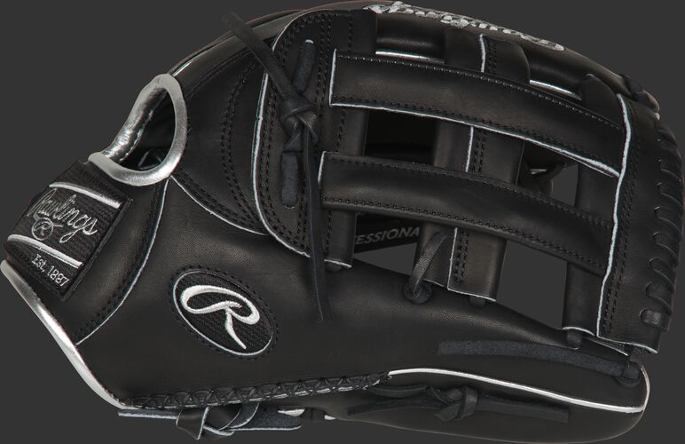 Thumb of a black PRO3039-6BSSP Heart of the Hide ColorSync 12.75-Inch outfield glove with a black H-web