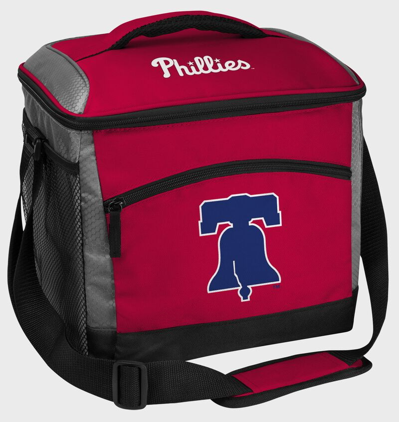 A red Philadelphia Phillies 24 can soft sided cooler with screen printed team logos - SKU: 10200020111