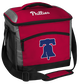 A red Philadelphia Phillies 24 can soft sided cooler with screen printed team logos - SKU: 10200020111 image number null