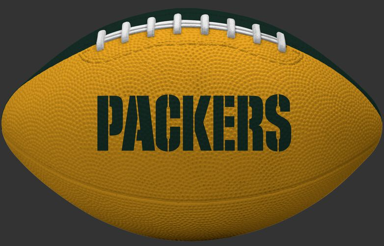 Yellow side of a Green Bay Packers rubber Gridiron football with team name SKU #09501068122