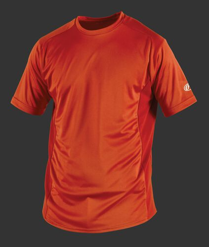 Front of Rawlings Burnt Orange Youth Short Sleeve Shirt - SKU #YSBASE