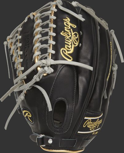Black back of a LH throw 2021 Mike Trout pattern Pro Preferred outfield glove with a fastback design - SKU: PROSMT27B-RH