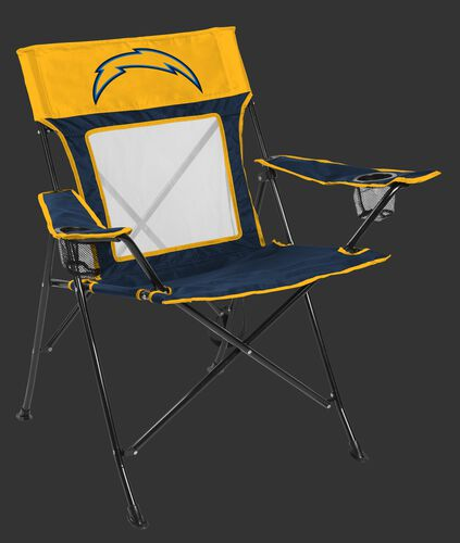 Front of Rawlings Navy and Yellow NFL Los Angeles Chargers Game Changer Chair With Team Logo SKU #00651083111