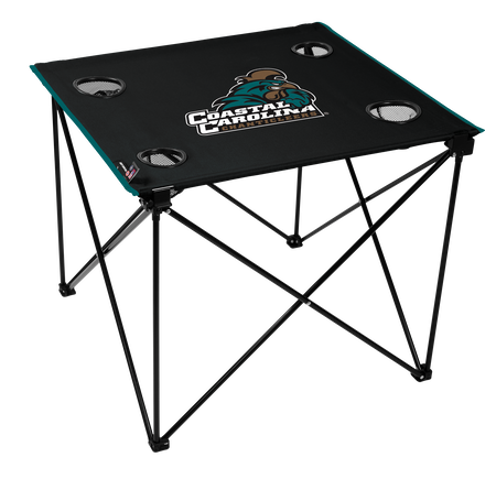 A black NCAA Coastal Carolina Chanticleers deluxe tailgate table with four cup holders and team logo printed in the middle