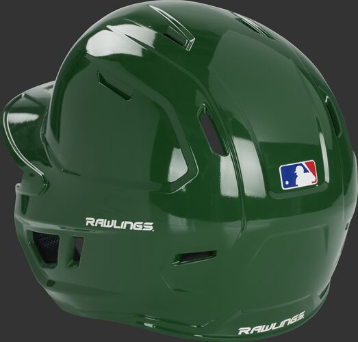 Back left of a dark green MCH01A Mach baseball batting helmet with optimized air ventilation