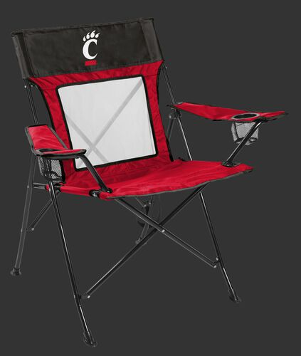 Front of Rawlings Black and Red NCAA Cincinnati Bearcats Game Changer Chair With Team Logo SKU #00643009111
