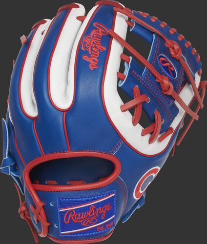 Back of a Chicago Cubs Heart of the Hide I-web glove with a royal Rawlings patch - SKU: RSGPRO314-2CHC