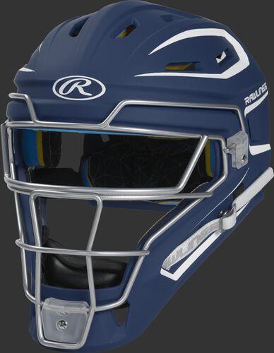 CHMCHS navy Mach adult catcher's helmet with white trim