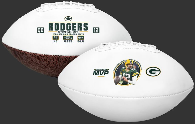 Two views showing both sides of an Aaron Rodgers 2020 NFL MVP full size football - SKU: 35341255111