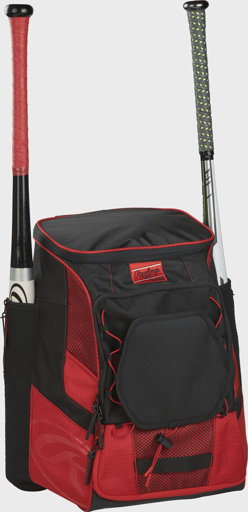 Front right of a scarlet/black R600 Rawlings players bag with two bats and Oval R printed on the bottom panel