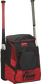 Front right of a scarlet/black R600 Rawlings players bag with two bats and Oval R printed on the bottom panel image number null