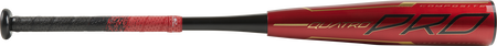 Barrel of a red UTZQ12 Rawlings 2020 Quatro Pro USSSA bat with black/gold accents