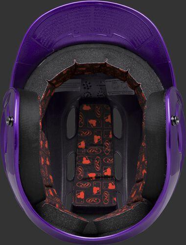 Inside padding of a purple R16S senior size Velo batting helmet