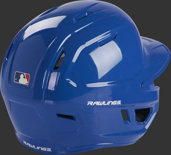 Back right of a royal MCH01A Rawlings batting helmet with optimal air ventilation holes