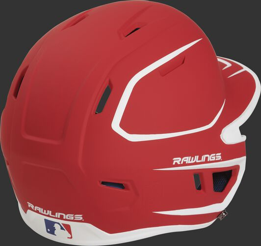 Back right of a two-tone matte scarlet/white MACHEXTR Rawlings senior size batting helmet