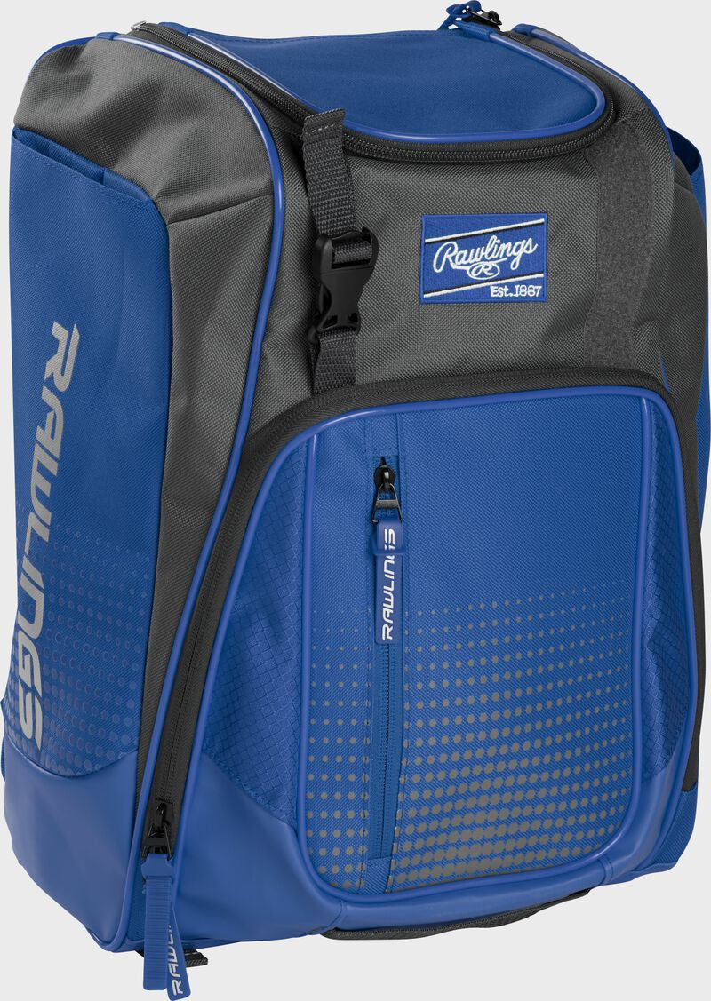 Front left angle of a royal Rawlings Franchise bag with gray accents - SKU: FRANBP-R
