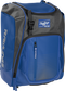 Front left angle of a royal Rawlings Franchise bag with gray accents - SKU: FRANBP-R image number null