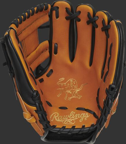 Horween tan palm of a Heart of the Hide infield glove with gold stamping and black laces - SKU: PRO314-2HTB