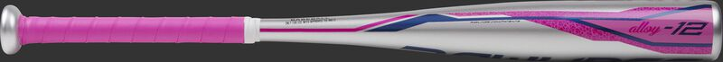 TBZS12 Rawlings Storm t-ball bat with a silver barrel and pink accents