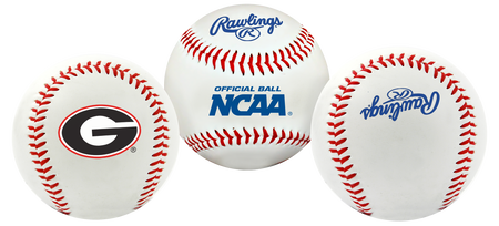 3 views of a NCAA Georgia Bulldogs baseball with a team logo, NCAA logo and Rawlings logo