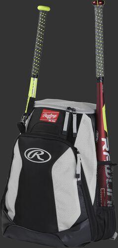 Left side of a black/white R500 baseball backpack with a red bat in the side sleeve