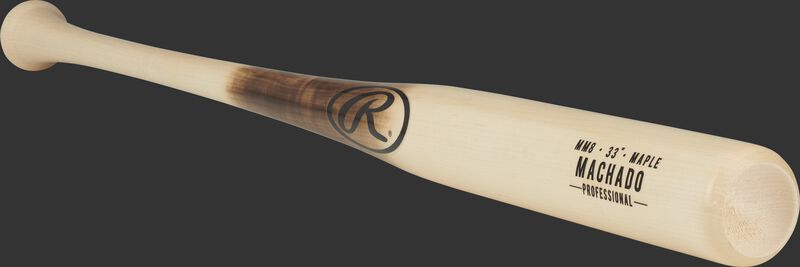 3/4 angle of a MM8PL maple Manny Machado bat with a natural wood color barrel