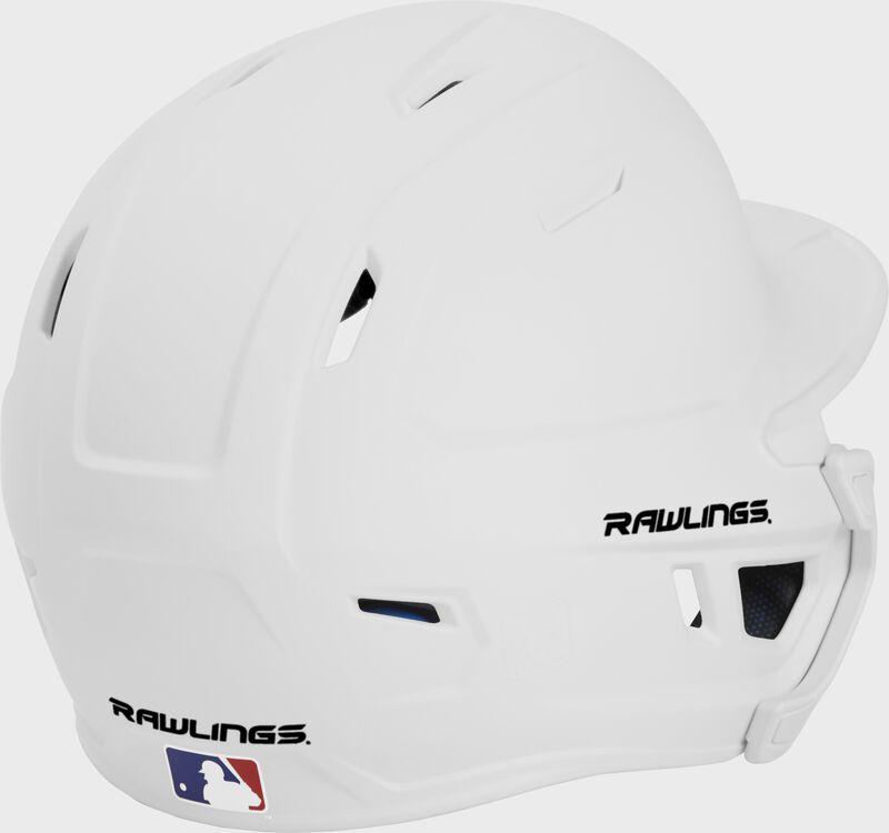 Back right of a matte white MACHEXTL Rawlings junior size batting helmet