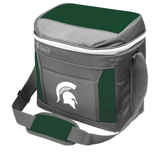 A grey NCAA Michigan State Spartans 9 can cooler with green accents and team logo printed on the front