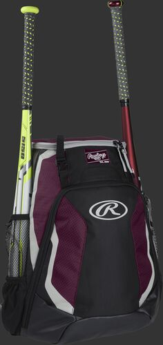 Right side of a black/maroon R500 Rawlings baseball backpack with a white bat in the bat sleeve