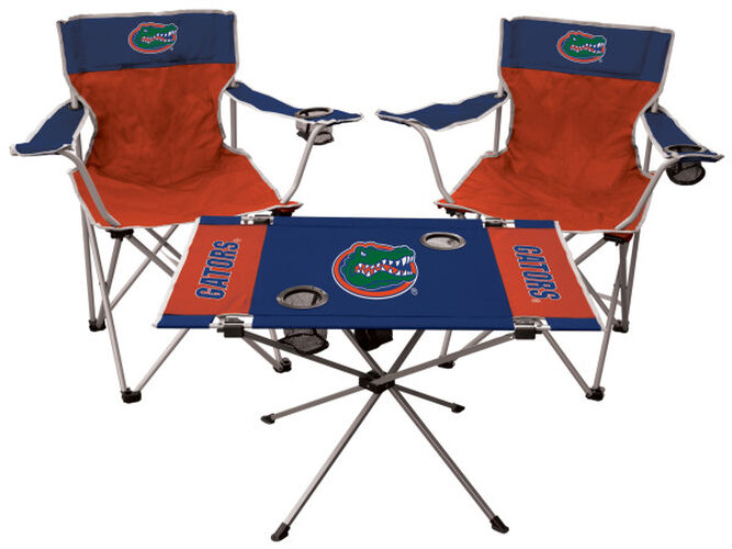 Front of Rawlings Blue and Orange NCAA Florida Gators 3-Piece Tailgate Kit With Two Kickoff Chairs, An Endzone Table, And A Transport Bag With Team Logo SKU #00993022511