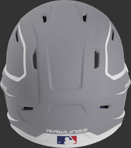 Back of a silver/white MACH high performance senior helmet with the Official Batting Helmet of MLB logo