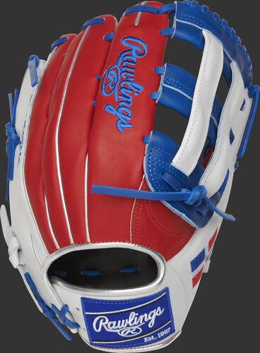 PRO3039-6DR Heart of the Hide 12.75-Inch Dominican Republic outfield glove with a scarlet back