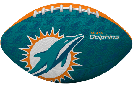 Teal blue side of a NFL Miami Dolphins Gridiron football with the team logo
