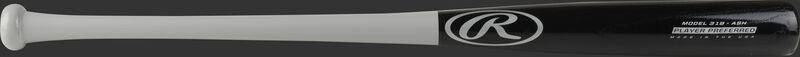 A 2021 Player Preferred 318 Ash wood bat with a black barrel, grey handle, & grey logos - SKU: 318RAW