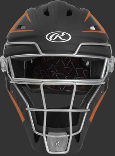 Front of a black/orange CHV27J Velo 2.0 hockey-style catcher's helmet
