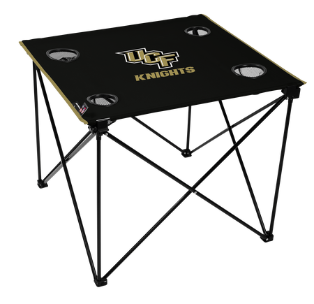 A black NCAA UCF Knights deluxe tailgate table with four cup holders and team logo printed in the middle
