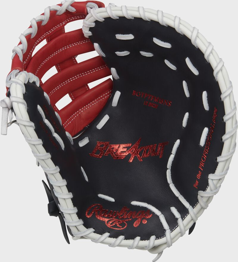 Navy palm of a Rawlings Breakout youth first base mitt with a red palm stamp and white laces - SKU: RSGBOYPTFM1NS