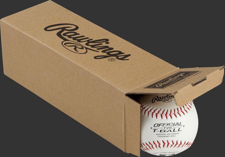 3 Official League t-balls inside a Rawlings box - SKU: RSGTVBPK3