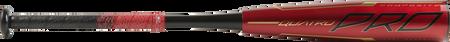 Barrel of a red UTZQ12 Rawlings 2020 Quatro Pro USSSA bat with black/gold accents